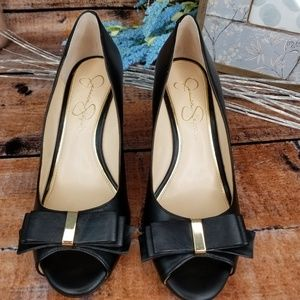 Jessica Simpson Lynden Wedge Heels with Bows, EUC!